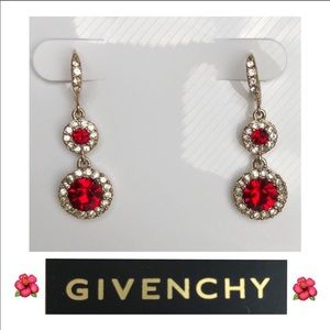 Givenchy double drop red crystal earrings